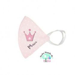 Mascarilla Higiénica reutilizable Personalizada Corona Rosa Color a elegir