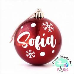 Bola Navidad Rojo Brillo personalizada