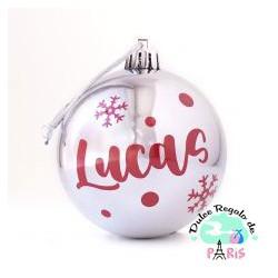 Bola Navidad Plata Brillo personalizada