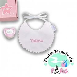 Cajita Baby Babero Rosa Personalizada