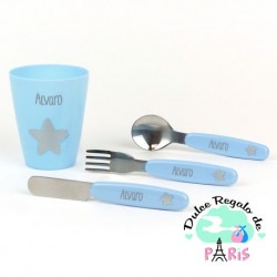 Set vasito y cubiertos acero personalizados azul Set vasito y