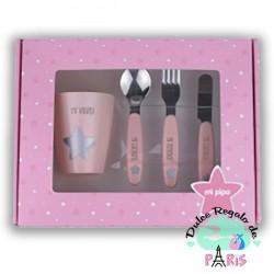 Set vasito y cubiertos acero personalizados rosa