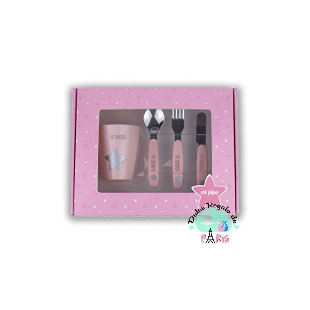 Set vasito y cubiertos acero personalizados rosa Set vasito y