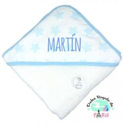 Capa de baño Mi Pipo Estrellas Azul Personalizada Capa de baño