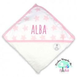 Capa de baño Mi Pipo Estrellas Rosa Personalizada Capa de baño