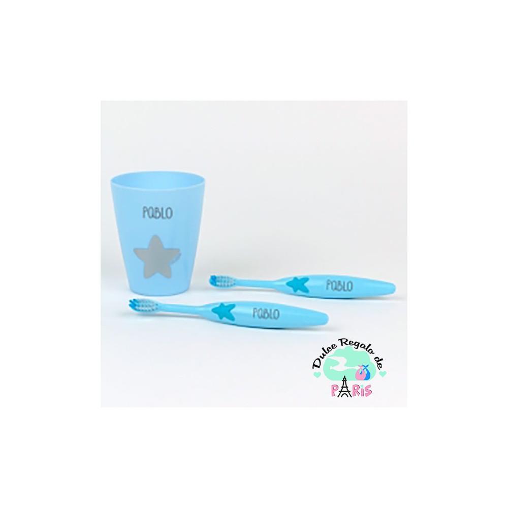 Set 2 Cepillos de dientes y Vasito Personalizados Azul Set 2