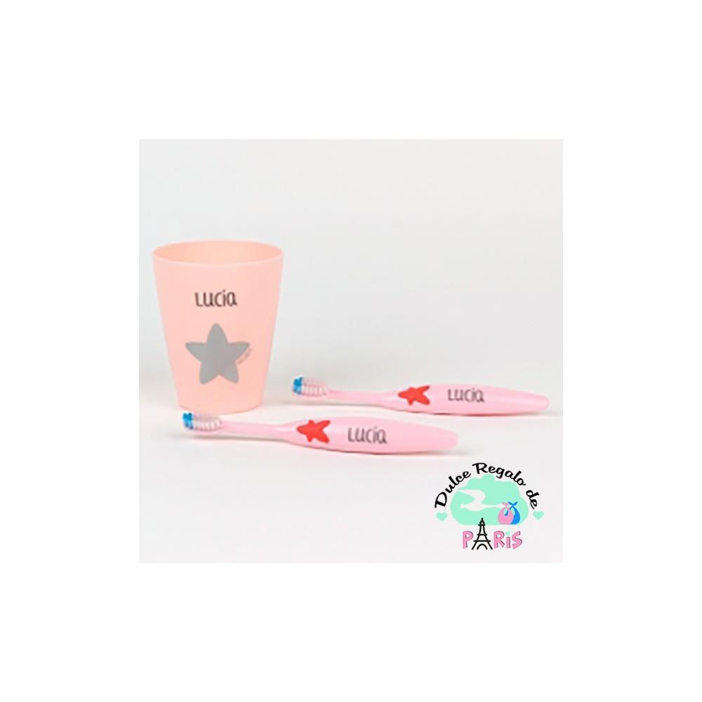 Set 2 Cepillos de dientes y Vasito Personalizados Rosa Set 2