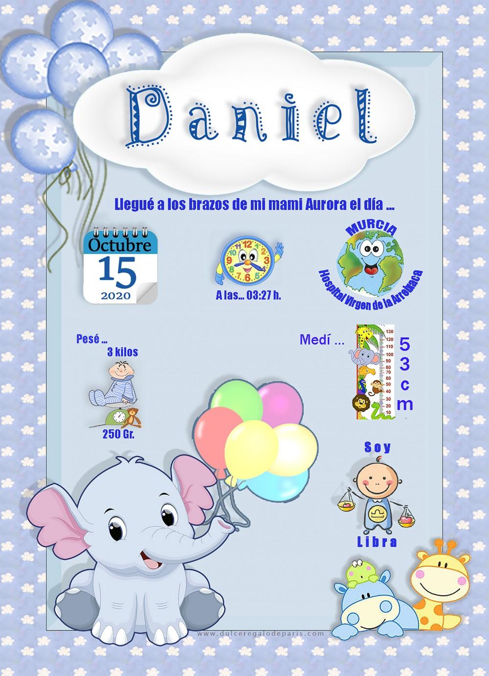 Lamina de nacimiento Daniel Lamina de Nacimiento Daniel.