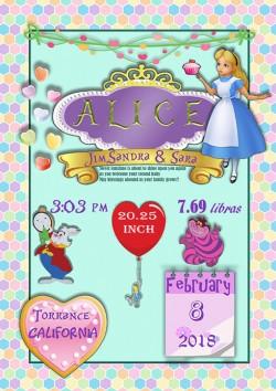 Lámina de Nacimiento Alice Lámina de Nacimiento Alice. LÁMINAS Packs con chupeteros