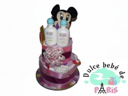 Tarta de dos pisos Minni Mouse Tarta de Pañales de dos pisos