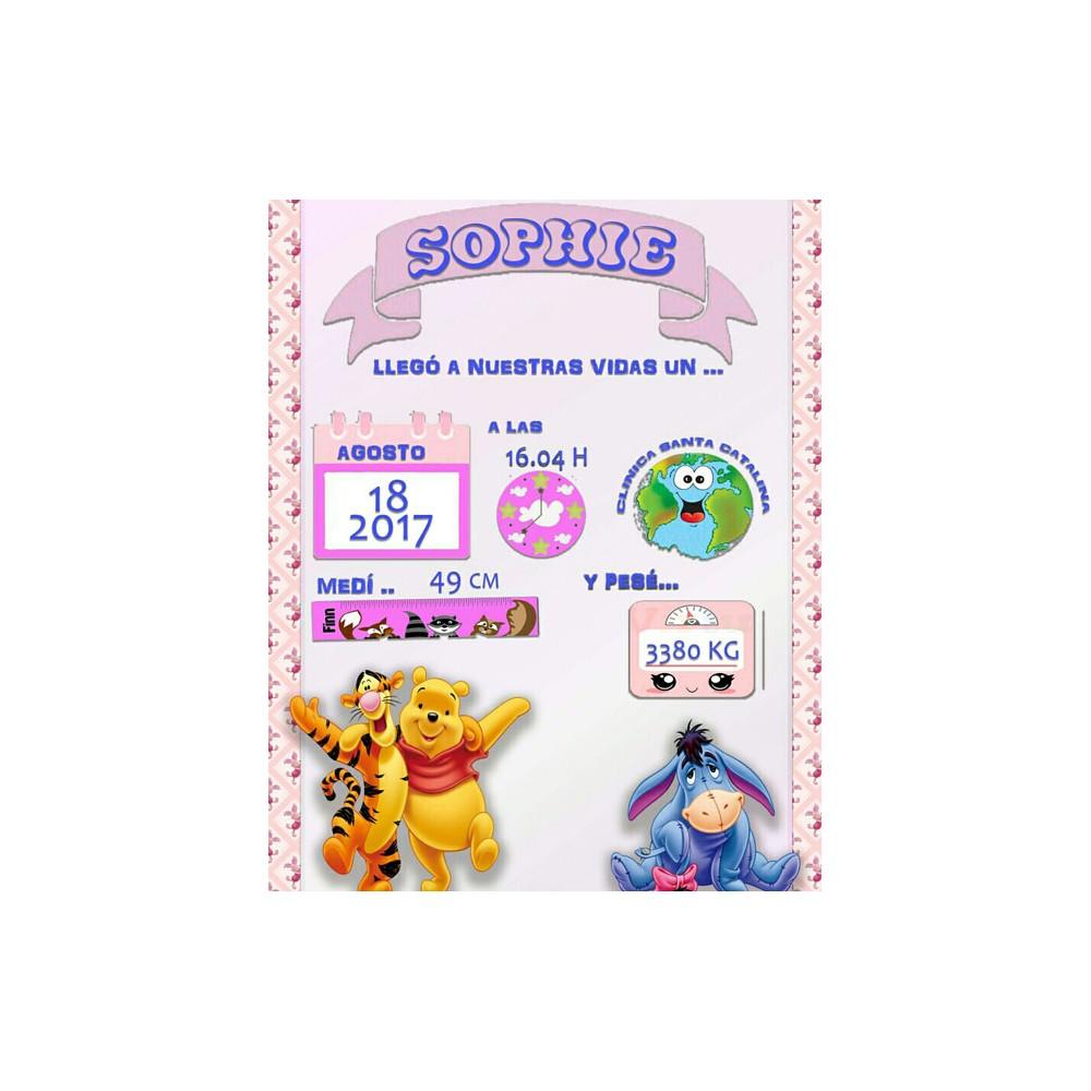 Lámina de Nacimiento Sophie. LÁMINAS personalizadas