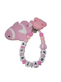 Chupetero rosa con mordedor pez