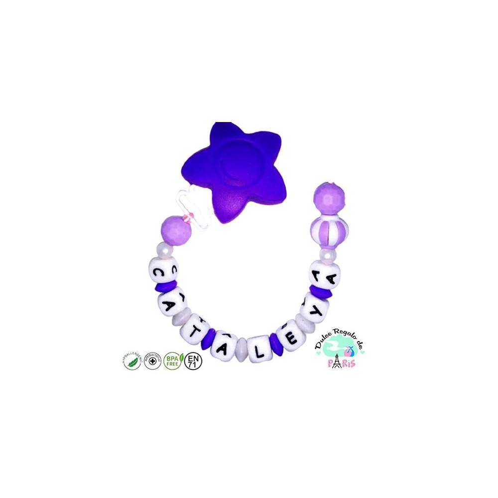 Chupetero con estrella y adorno mixto en tonos lilas