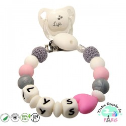 Chupetero de silicona mas crochet en tonos grises y rosas Lys