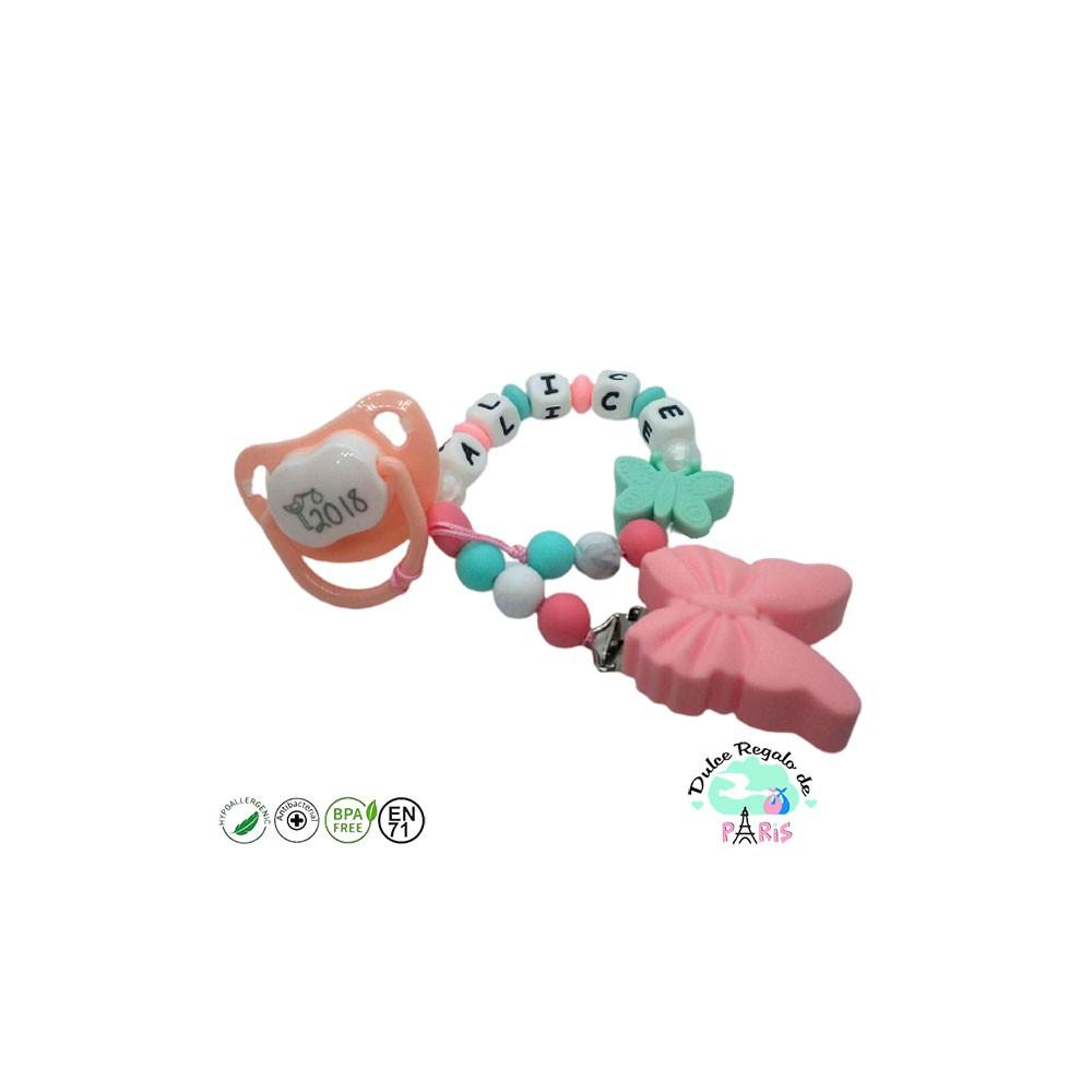 Chupetero en tonos Mint mariposa rosa y mint chupete opcional