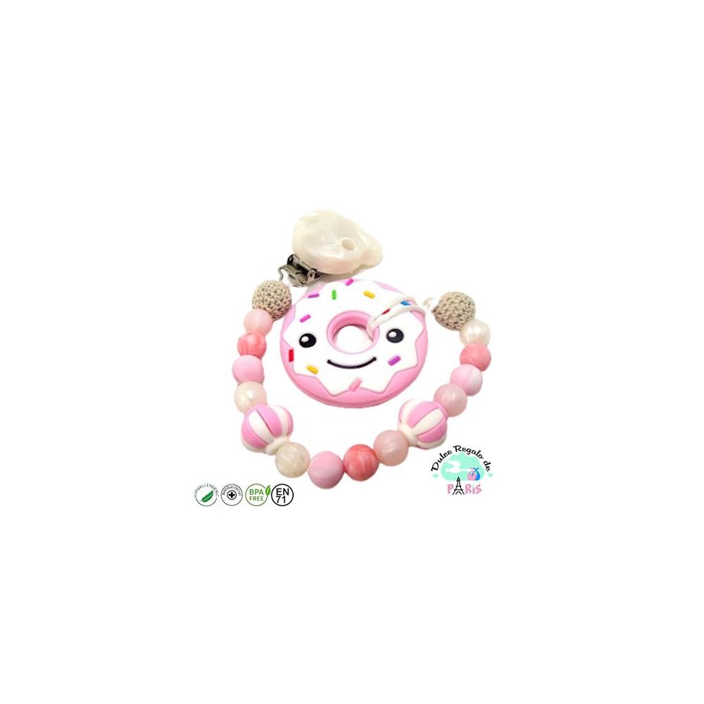 Chupetero crochet y bolas mixtas en rosa y blanco Mordedor Donut rosa