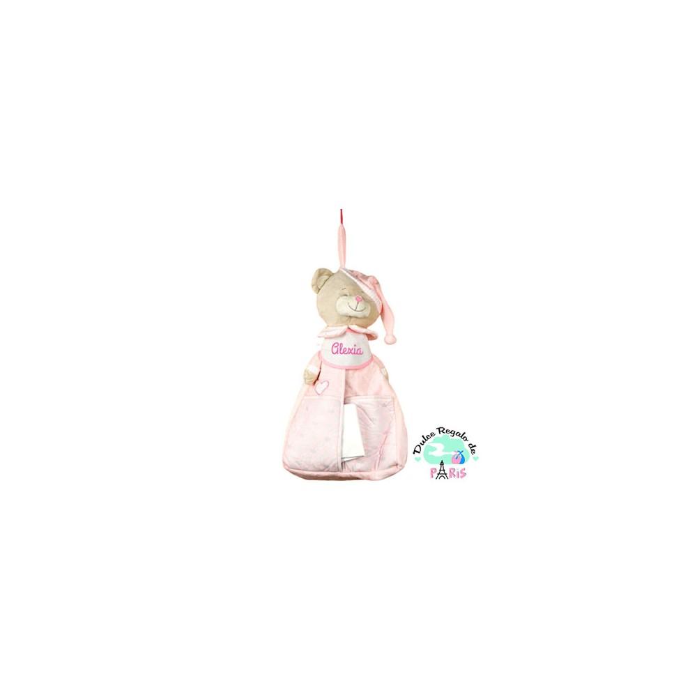 Guardapañales Rosa Personalizado -Perfecto para guardar pañales o el pijamita del bebé, es un osito rosa