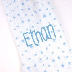 Muselina Estrellas Azul Personalizada Muselina Estrellas Azul