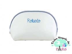 Neceser Polipiel Blanco-Ribete Gris,Azul y Rosa Personalizado