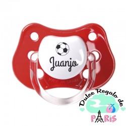 Chupete Baby o Clásico Personalizado Nombre + Balón Fútbol