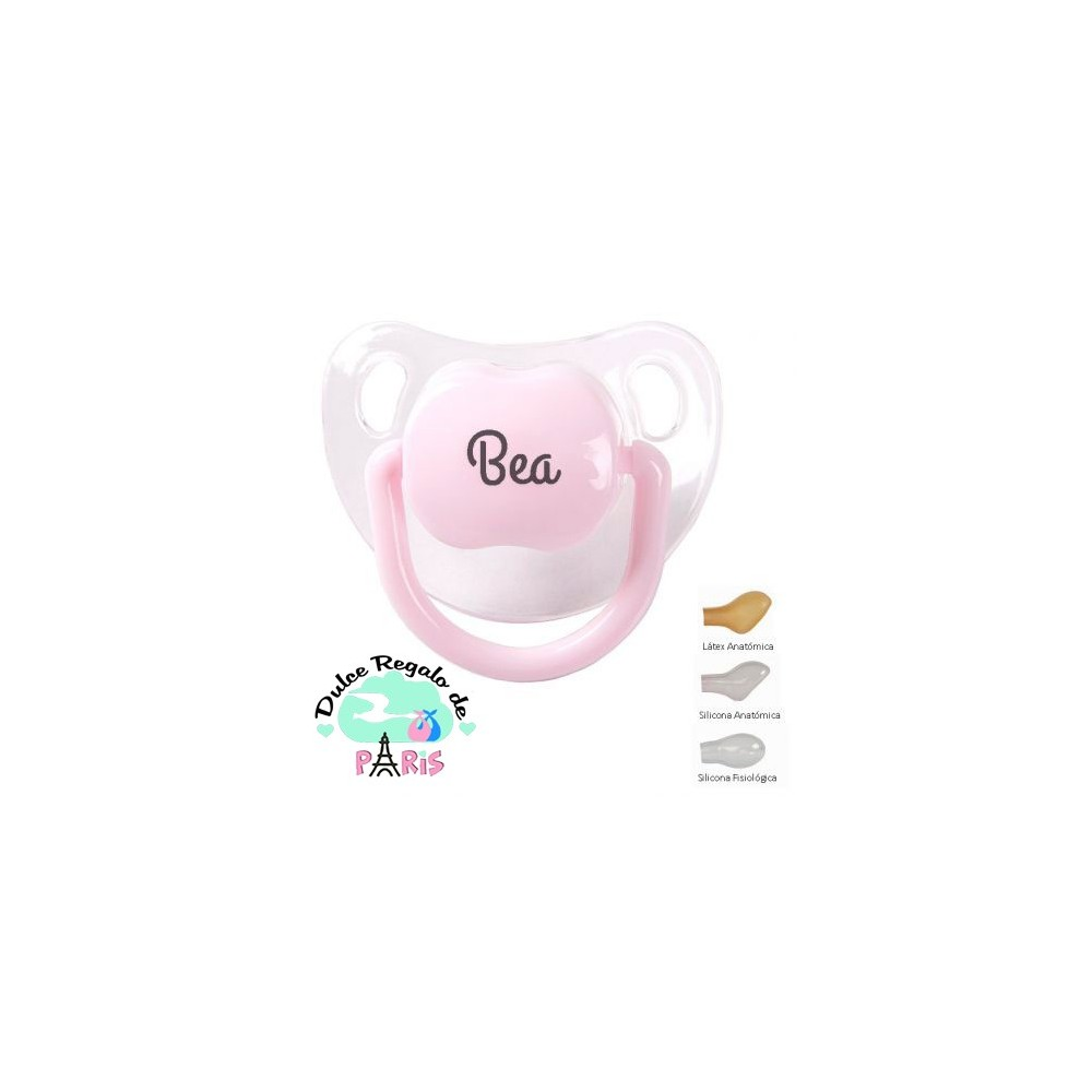 Chupete Baby Personalizado Transparente Rosa Pastel Chupete
