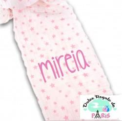 Muselina Estrellas Rosa Personalizada