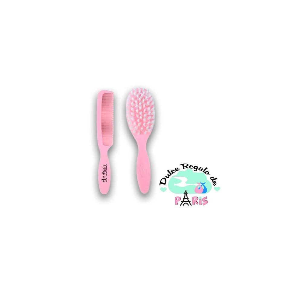 Set Cepillo y peine rosa +0M Personalizados Set Cepillo y peine