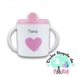 Taza Corazón rosa +9M personalizada Taza Corazón rosa +9M