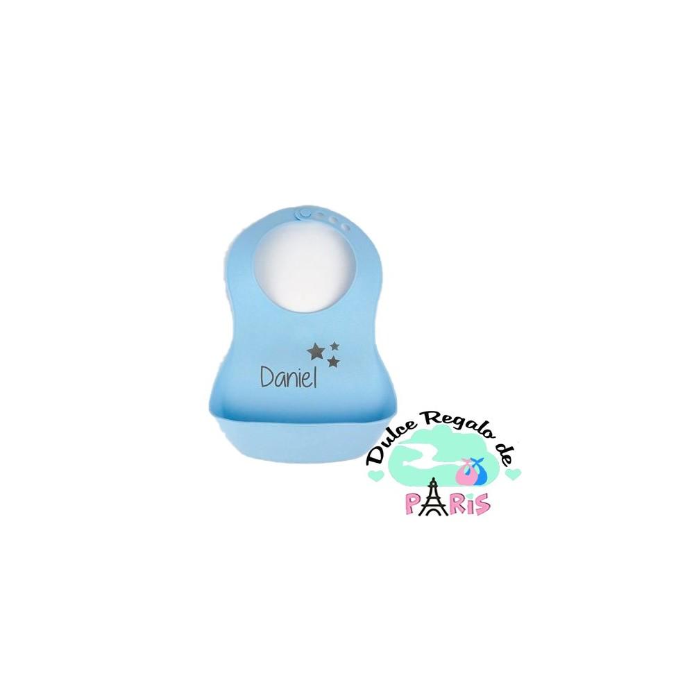 Babero Goma Azul Personalizado +3m Babero Goma Azul