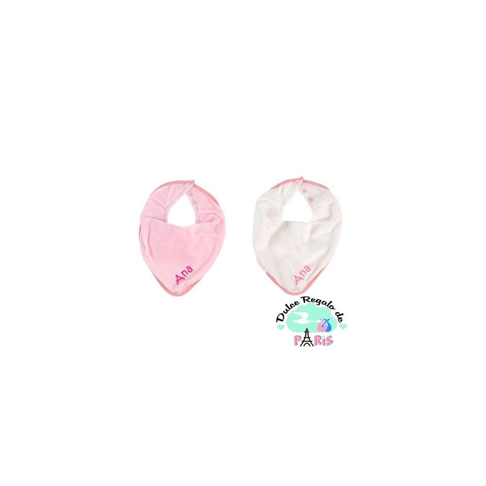 2 Baberos Secababitas Personalizados Blanco-Rosa +3M   Ropa