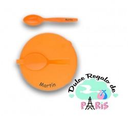 Plato con tapa y cuchara Personalizado +12M Plato con tapa y