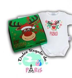 Babidu Body Navideño Personalizado Navidad Rudolph con cajita