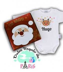 Babidu Body Navideño Personalizado Navidad Reno con cajita de