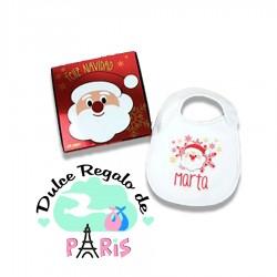 Babero Navideño Personalizado Navidad Papá Noel con cajita de regalo