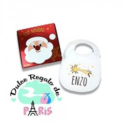 Babero Navideño Personalizado Navidad Estrella Fugaz con cajita de regalo