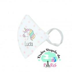 Mascarilla Higiénica reutilizable Personalizada Unicornio Color a elegir