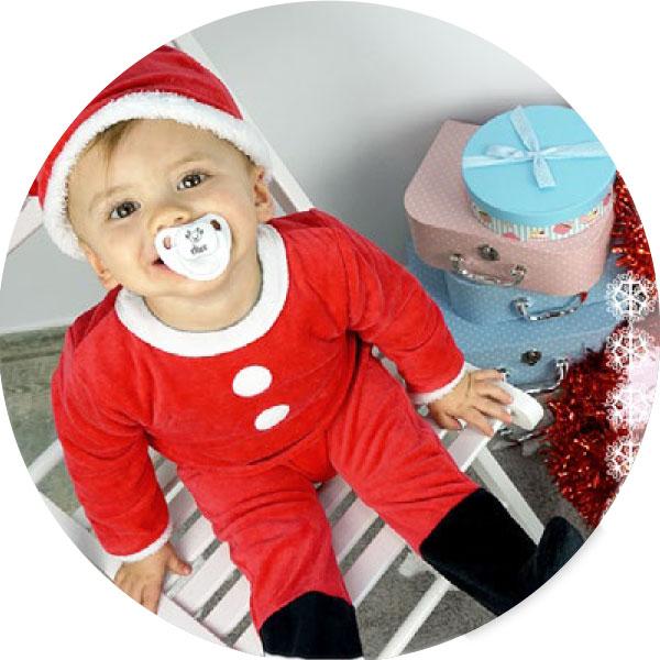bebe papá Noel con chupete Navideño